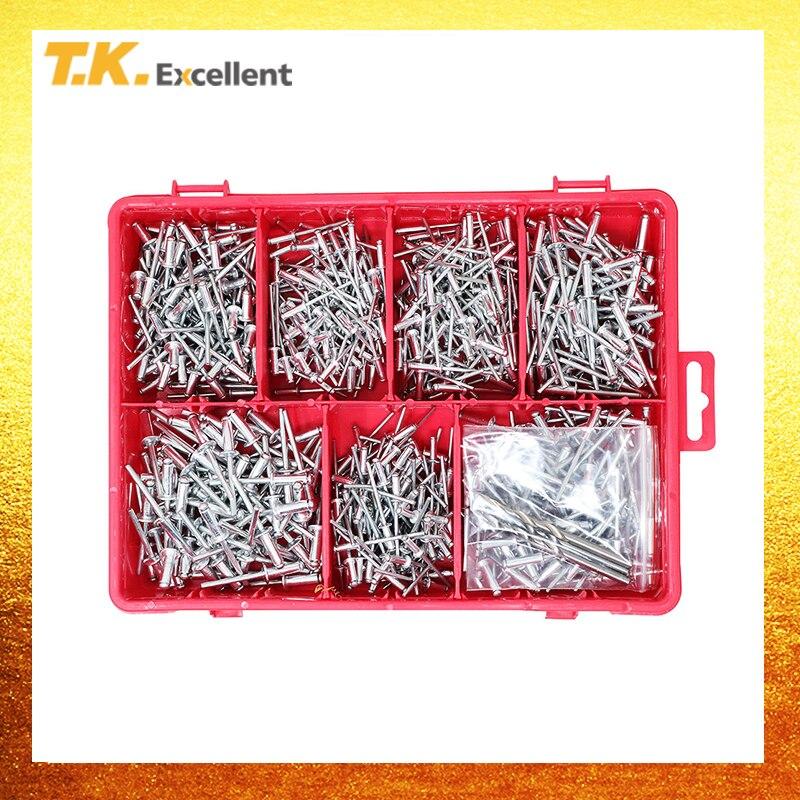 T.K. Excellent Small Head Aluminum Steel Mandrel Pop Rivets Assortment Kit570Pcs +Free Drill 3 Pcs